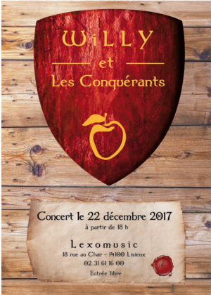 CLAUDINE BUCOURT CREATION de l'affiche pour le groupe de musique willy et les conquérants