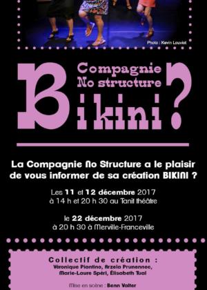 création d'une affiche et d'un flyer pour la cie no structure - bikini - création graphique claudine bucourt