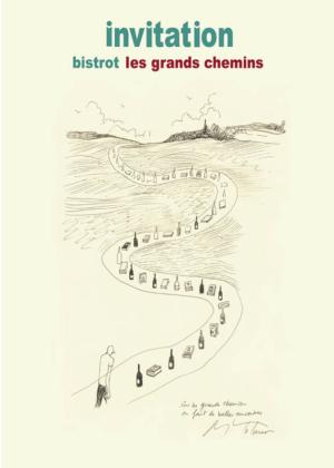 CLAUDIne bucourt - création de l'invitation pour le bistrot des grands chemins à lisieux